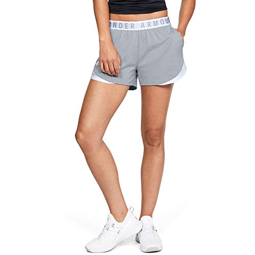 Under Armour Women's Play Up 3.0 Shorts , True Gray Heather (025)/White , Small