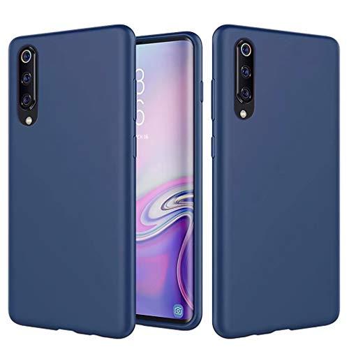 NiaCoCo Compatible con Xiaomi Mi 9 Funda Silicona Líquida Ultrafina Carcasa de Telefono Gel Goma Suave Tela Bumper Shockproof Resistente a Los Arañazos Cover(Azul)