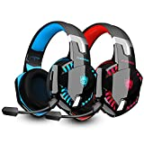 2 PCS PHOINIKAS G2000 Wired Gaming Headset for PS4, Xbox One, PC, PS5, Over Ear Headphones with Detachable Noise Cancelling Mic, Bluetooth Wireless Headset only for Phone, Up to 12h