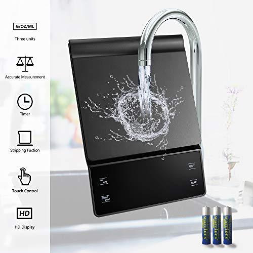 Báscula de cocina digital,báscula de cocina eléctrica con temporizador,báscula de precisión para alimentos con pantalla LED,control táctil,g/ml/oz