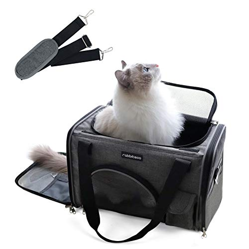 rabbitgoo Transportbox Hund faltbar Hundetasche, Katzentransportbox Weich, Komfort Tragetasche Transporttasche Autobox mit Schultergurt für Haustier