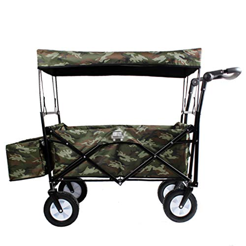 Garden Cart Foldable Pull Wagon Hand Cart with Removable Canopy Garden Transport Cart Collapsible Portable Folding Cart (Color : A)