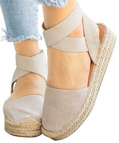 Thick Bottom Platform Sandals Shoes Women Summer Casual Strappy Wedge Sandals Closed Toe Shoes by Gyouanime Beige