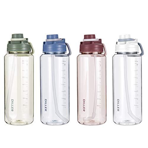 Diller 2L Acqua con Paglia litro 2000ml Piccolo Grande per lacqua, a Prova di perdite, Senza BPA, Leak Proof BPA Free D42 (2000ml, Blu)