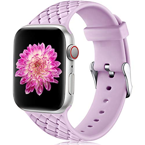 Oielai Cinturino Compatibile con Apple Watch 38mm 40mm, Impermeabile Morbido Silicone Tessere Sostituzione Sportiva Cinturino per Iwatch Serie 5 4 3 2 1, 38mm/40mm S/M Lavanda