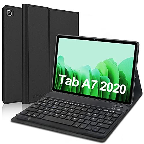 KVAGO Funda con Teclado para Samsung Galaxy Tab A7 10.4 Pulgadas 2020 SM-T505/T500/T507, Diseño en Español Ñ con Teclado Bluetooth Inalámbrico,Carcasa con Auto-Sueño/Estela, Negro