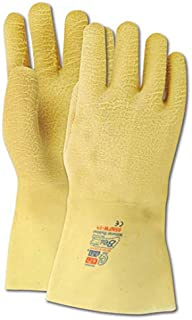 Showa Best 2482 SHOWA Best Guard Nitty Gritty Yellow Rubber Fully Coated Gloves, Natural, Men`s (Fits Large) (Pack of 12)