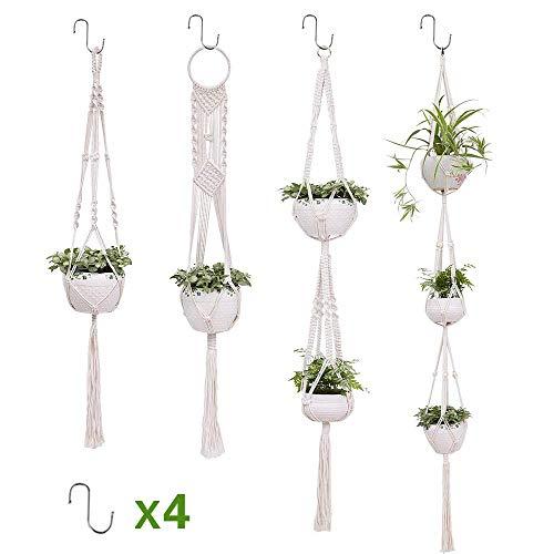 SUCHDECO Makramee Blumenampel Baumwollseil Hängeampel Blumentopf Pflanzen Halter Aufhänger für Innen Außen Decken Balkone Wanddekoration 3er Set (4 Pack)