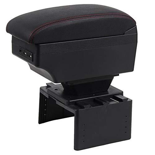 XIANGSHAN Car Apoyabrazos Caja para Seat Leon de Carga USB Intensificar Doble Capa (Color Name : B Black Black Line)