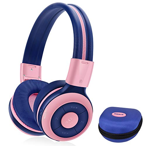 SIMOLIO Bluetooth Kids Headphones Volume Limited,Kids Safe Headphone with Share Jack,Wireless Headphones for Kids,Bluetooth Kids Headsets for iPad/iPhone/Kindle/Tablets/Car and Gift for Girls (Pink)
