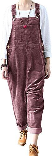 Trieskull Frauen Casual Baggy Cord Breite Bein Hosen Latzhose Overalls mit Taschen (Red,XL)