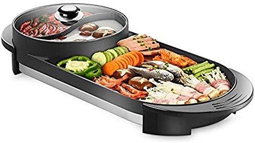 NBHUYT Elettrico BBQ - The Korean Grill Elettrico E Hot Pot Tabletop Grill e fonduta con Rivestimento in Ceramica [Classe energetica