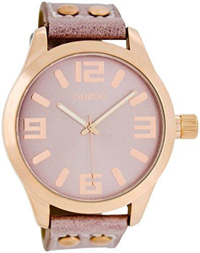 Oozoo Armbanduhr Basic Line mit Lederband 47 MM Rose/Pinkgrau/Pinkgrau C1152