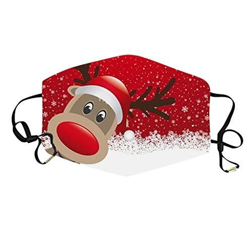 NN/A Weihnachten Mundschutz Erwachsene Weihnachts Waschbar und Wiederverwendbar Mund und Nasenschutz Unisex mit Motiv Multifunktionstuch