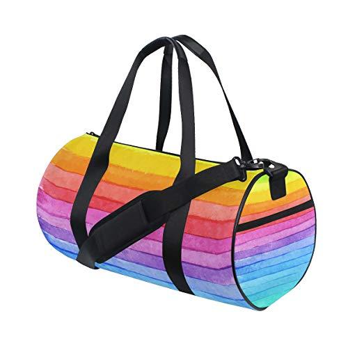 Ahomy Sports - Bolsa de deporte con diseño de rayas de colores y acuarela, color arcoíris, bolsa de gimnasio grande para hombres y mujeres