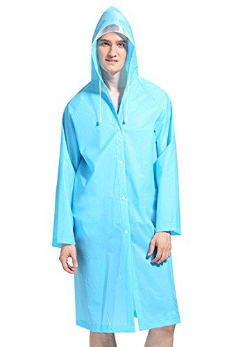 XFentech Unisex Adulte Respirant Imperméable Camping de Plein Air Sac à Dos Poncho Capuche réutilisable Longue Manteau de Pluie imperméable, Bleu/M