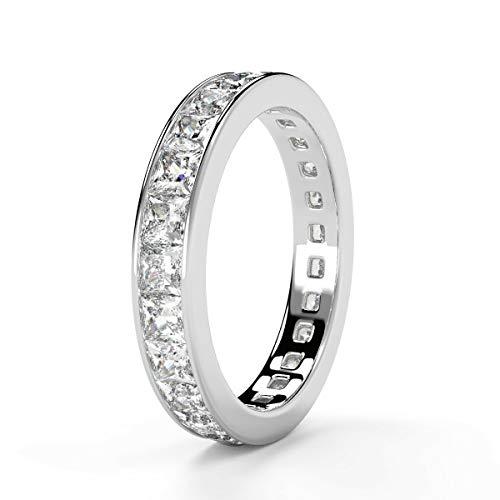 1.50ct Princess Diamond Full Eternity Ring in Hallmarked 18k White Gold Size I