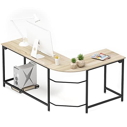 Hago Modern L-Shaped Desk Corner Computer Desk Home Office Study Workstation Wood & Steel PC Laptop Gaming Table