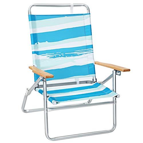 SONGMICS Sedia da Spiaggia Portatile con Schienale Alto e Reclinabile in 3 Posizioni, Spiaggina Pieghevole con Braccioli in Legno, Portata 150 kg, Strisce Blu Verdi e Bianche GCB66UW