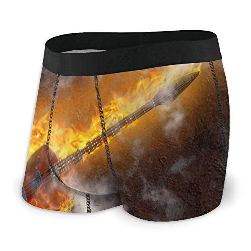 GREEDCLOUD Mens Boxer Briefs Underwear Vintage Flaming Bass Guitar Against Rusted Metal Comfy Underpants for Men Youth Boys