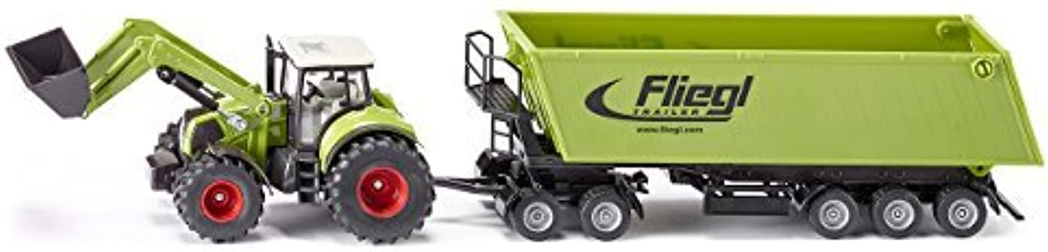 1 50 Siku Claas With Front Loader, Dolly & Tipping Trailer by Siku