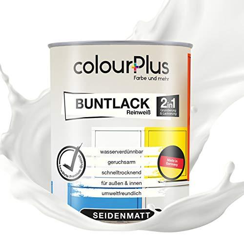 colourPlus® 2in1 Buntlack (750ml, RAL 9010 Reinweiß) seidenmatter Acryllack - Lack für Kinderspielzeug - Farbe für Holz - Holzfarbe Innen - Made in Germany