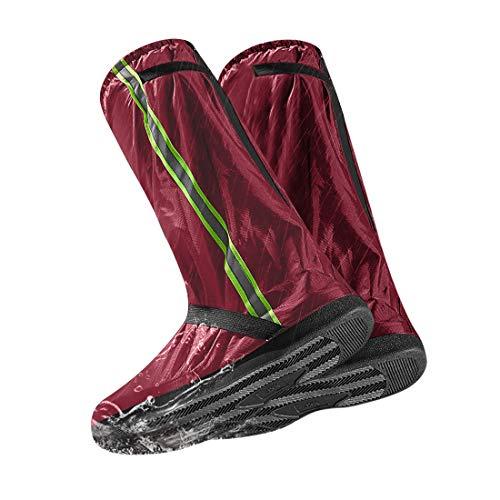 LAMA Regenüberschuhe Fahrrad Überschuhe rutschfest Galoschen Wasserdicht Schuhüberzieher Regenschutz Schuhe Bezüge Wiederverwendbar Regenschuhe mit Reflexstreifen für Männer Frauen Rot