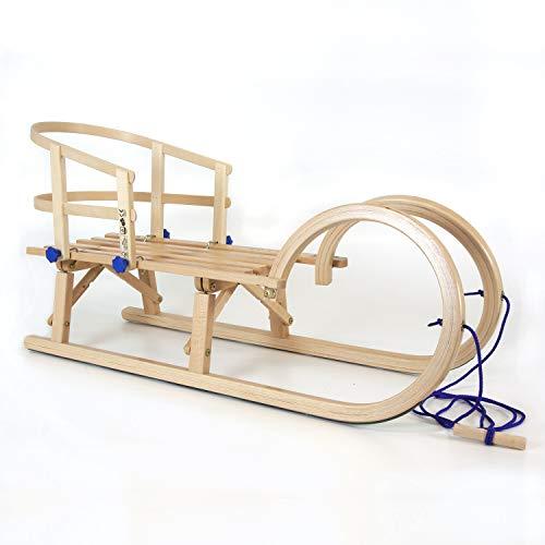 Klappschlitten Hörnerschlitten mit Leine und Schlittenlehne Buche | HolzFee Set Tourer Baran 100 cm