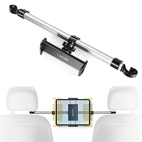 Luxtude Metall Tablet Halterung Auto, Anti-Shake Tablethalterungen Auto Kopfstütze, Einstellbar KFZ Tablet Halterung für iPad Mini Air, iPad Pro 12.9 11, Switch, Kindle, Smartphone usw. 4-13 Zoll