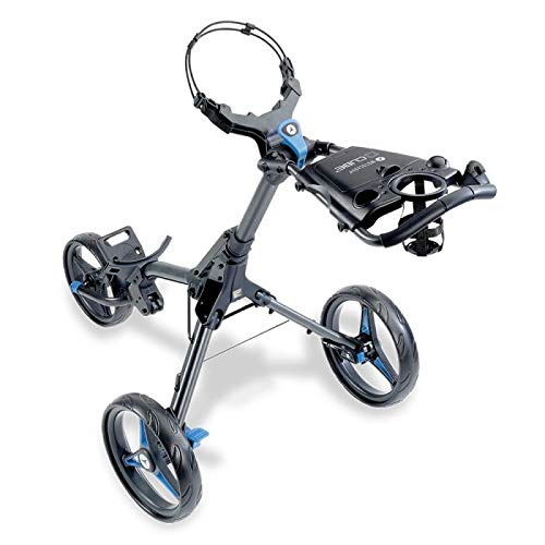 Motocaddy Cube 3 Wheel Golf Push Cart Lightweight Compact Two-Step Folding Golf Cart (Charcoal/Blue)
