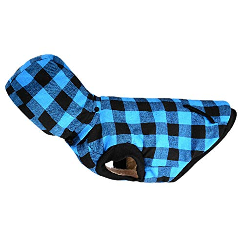 Amphia - Hundebekleidung T-Shirt,Warme Baumwollmantel mit Abnehmbarer Kappe für Hundekleidung - Stilvolle Hund Winter weiche warme Mantel Puppy Fleece Jacke Kleidung(Blau,XL)