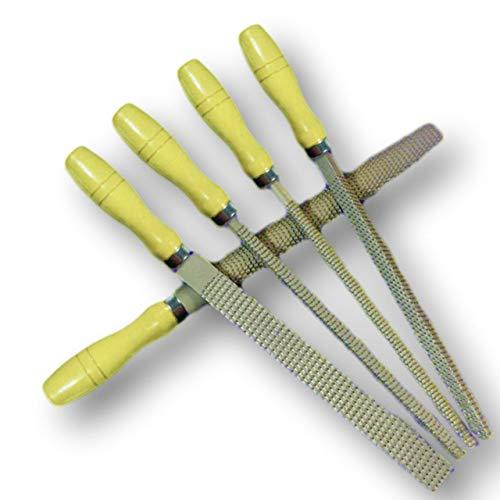 FuliLie やすりセット 5本組 ヤスリ 工具 金属 木工用 鉄工 研削 バリ取り 収納ケース付き (木製)
