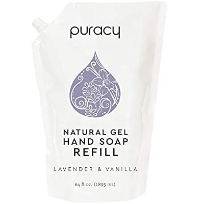 Puracy Natural Gel Hand Soap Refill, Lavender & Vanilla, Sulfate-Free Liquid Hand Wash, 64 Ounce