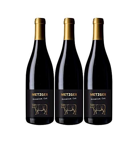 Metzger Premium Cut Pinot Noir QbA Rotwein Wein trocken Deutschland (3 Flaschen)