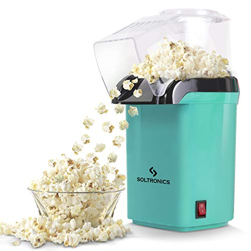 SOLTRONICS Hot Air Popcorn Popper Maker with Removable Measuring Cup, ETL Certified, No Oil Needed, BPA-Free, 1200W, Small, Green