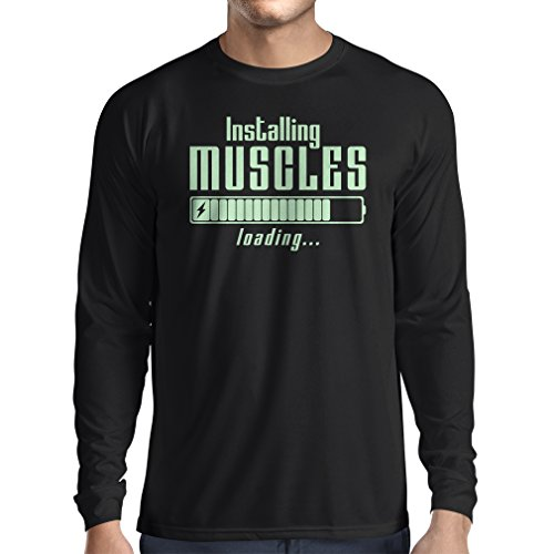 lepni.me Camiseta de Manga Larga para Hombre Muscle Works Clothing - for Muscle Growth Masters, Vintage Design, Fitness Clothes (Large Negro Fluorescente)