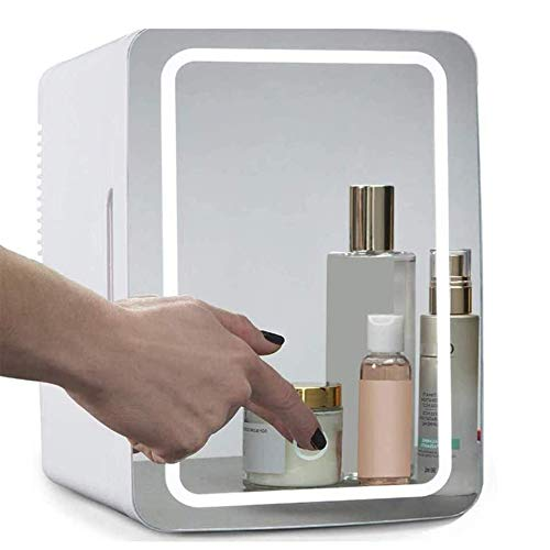 YUTGMasst Mini Refrigerador Portátil Pequeña Nevera,Congelador Cosmético con Tres Pisos- 10 litros, para Maquillaje Y Cuidado La Piel, Sala, Automóvil Bar Refrigerador Silencioso (12V   220V)