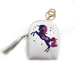 PALAY Unicorn Coin Purse Cartoon Women Girls Kids PU Leather Zipper Mini Wallet Holder Coin Card Pouch Bag with Keyring Gi...