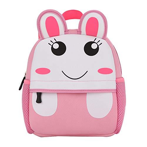 Kinderrucksack Animal Tier 3D-Hase-Kaninchen-Rabbit-Motiv – Pink - für Mädchen und Jungen – Kinder – Vorschule – Unisex – mit Hauptfach– Getränkehalter – gepolstert – 1-6 Jahre