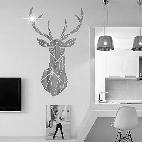 Adesivi Murali Specchio 3D Cristallo Acrilico, Elegante Adesivo da Murale Testa di Cervo per Soggiorno, Camera da Letto, TV, Divano, Sfondo, Arte della Parete (86*51cm, Argento)