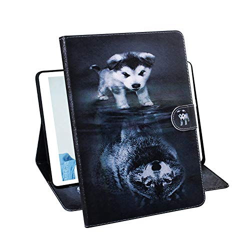 iPad Mini 5 2019 Case, iPad Mini 4/3/2/1 Case - Techcircle Slim Lightweight PU Leather Flip Stand Case with Card Slots Protective Cover for Apple 7.9 Inch iPad Mini 1/2/3/4/5, Wolf & Dog