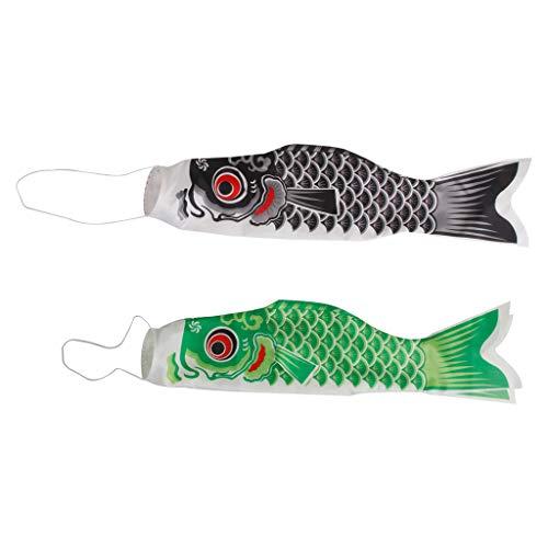 LOVIVER Koi Nobori Windsack Windspiel Fisch Flagge Wind Streamer, Japanische Stil - 70cm Schwarz + 70cm Grün