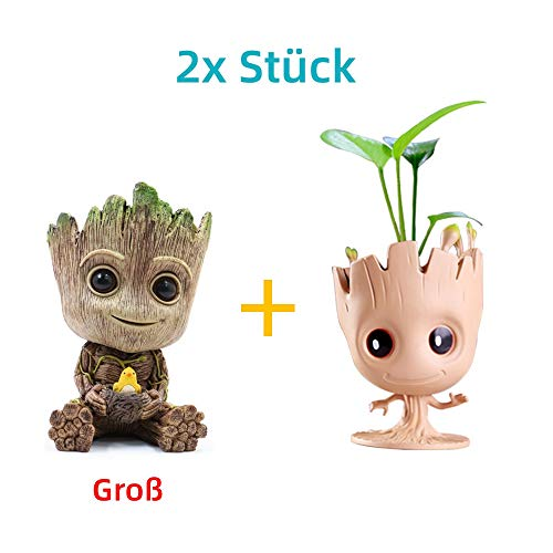 WILLBAN Baby Groot Blumentopf Action-Figuren-Spielzeug Stifttopf PVC Held Model Guardians der Galaxie Crafts Figur Wohnkultur (Set-E)