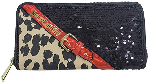 Juicy Couture Clashing Hearts Large Zip Around Wallet Natural Cheetah One Size