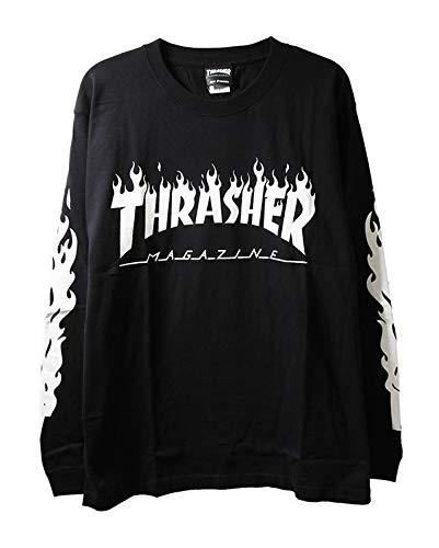 Thrasher スラッシャー ロンT ロングTシャツ 長袖 Flame Of Sleeve L/S T-Shirt Black 黒M スケボー SKATE ...