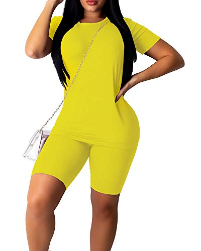 Michellecmm Women 2PCS Sport Set, Solid Color Short Sleeve Round Neck Top, High Waist Elastic Band Short Pants Yoga Set