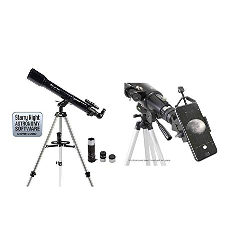 Celestron 21036 PowerSeeker 70AZ Telescope (Black) with Celestron 81035 Basic Smartphone Adapter 1.25' Capture Your Discoveries, Black