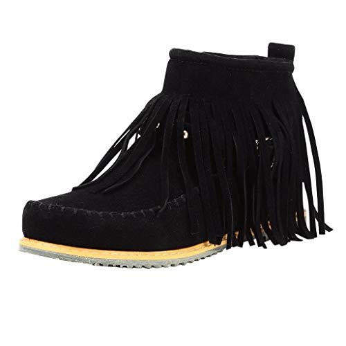 WUSIKY Bootsschuhe Damen Stiefeletten Boots Damen Knöchel Kurze Stiefel Quasten Große Stiefel Seitlicher Reißverschluss Nieten Nackte Stiefel (Schwarz, 37 EU)