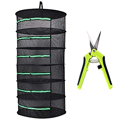 YIDIE 2ft 6-Layer Herb Drying Rack Plant Dry Net with Zipper and Scissor