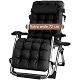 DQCHAIR Outdoor Reclining Zero Gravity Chair with Cup Holder, Extra Wide Adjustable Lounger
